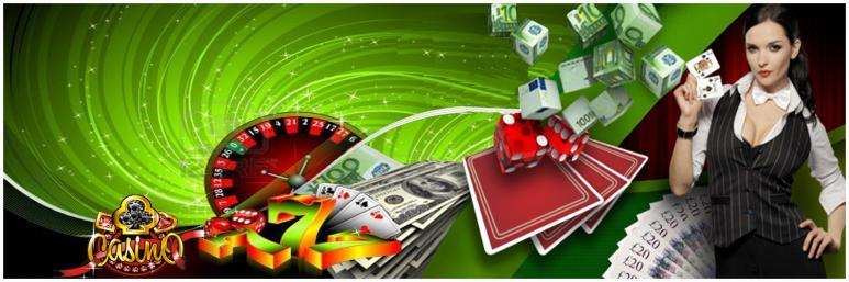 live dealer with cards and an array of casino games, casino dice and chips and roulette wheel